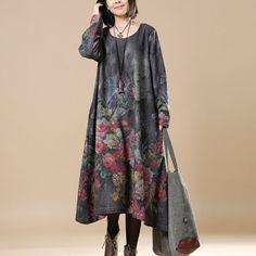 Women Print Casual Loose Round Neck Long Sleeve Dress