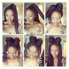 With the cold season being here, many naturals are turning to box braids for protective styling. That being said, it is really easy to get into a styling rut when wearing braids for two to three m… Click this image for more info. Box Braids Updo, Long Box Braids, Box Braids Styling, Box Braids Hairstyles, Twist Braids, Cool Hairstyles, Hair Twists, Dreadlock Hairstyles, Wedding Hairstyles