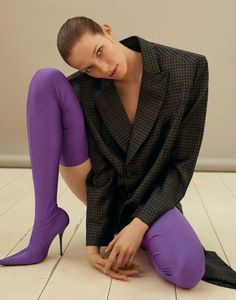 Balenciaga purple knife boots over the knee with masculine oversized blazer editorial styling inspiration Fashion Photography Inspiration, Editorial Photography, Photography Poses, Style Inspiration, High Fashion Poses, Fashion Shoot, Editorial Fashion, Runway Fashion, Balenciaga Boots
