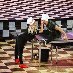 "Sasha Pieterse and Gleb practicing their Jazz routine, ""Dancing with the Stars"", week 3, chef hats"