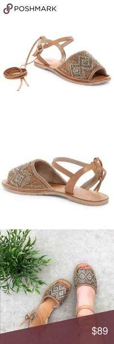 Rebels Tan Camel Leather Beaded Wrap Sandal The perfect shoes that look great with anything! Look great with dresses, rompers, jeans and a tee, shorts- and look great with any print or color!  Fit true to size. Leather is great quality on these took me about 2 wears to where they broke in and formed my foot nicely.   100% Genuine Leather   Let me know if you have any for questions! Rebels Shoes Sandals