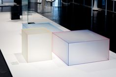 """""""SOFT"""" coffee tables, design Nendo - GLASLOVE exhibition - Miami Art Basel, December 2016 
