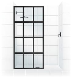 "Coastal Gridscape Series Multi-Pane ""Windowpane"" Shower Doors transitional"