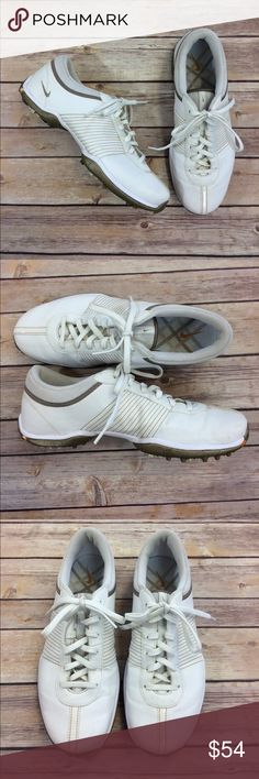 Nike Golf Shoes (Women) Nike Golf Shoes. In gently worn condition with a few light stains. Will probably come off with a good scrubbing. White with orange and gray details. Nike Shoes Athletic Shoes