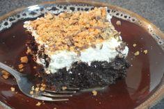 Holy Cow Cake. Caramel, chocolate, Butterfinger, cream cheese...mmmmm.