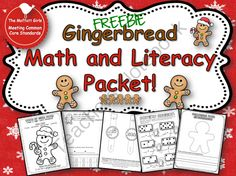 "Teachers Notebook / TheMoffattGirls Gingerbread Math and Literacy Packet Here is a fun little packet that includes the following: *Color by Sight Word Gingerbread *Color, Cut and Paste Word Problems (1 addition, 1 Subtraction) *Decorate your Gingerbread Writing *Gingerbread Phonics Watch and Sight Word Watch for the word ""see"".  *Domino Addition"