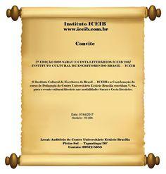 Instituto Cultural de Escritores do Brasil - ICEIB: Convite para a 7ª Edição dos Sarau e Cesta Literár...