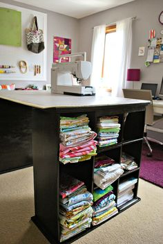Sewing Storage Ideas | The top of my dresser provides even more storage, with bins for ...