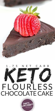 Flourless Chocolate Cake - Keto Cake - That's Low Carb! Keto Flourless Chocolate Cake will bring birthday-like happiness every day of the week. Worth every single delicious bite at just Net Carbs a slice! Keto Friendly Desserts, Low Carb Desserts, Low Carb Recipes, Dessert Recipes, Recipes Dinner, Breakfast Recipes, Keto Cake, Keto Cheesecake, Flourless Chocolate Cakes
