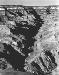 """Grand Canyon from S(outh). Rim, 1941,"" vertical panorama with shadowed ravine. Ansel Adams"