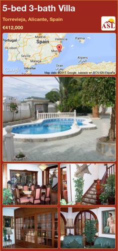 Villa for Sale in Torrevieja, Alicante, Spain with 5 bedrooms, 3 bathrooms - A Spanish Life Valencia, Independent Kitchen, Sun Blinds, Portugal, Torrevieja, Fitted Wardrobes, Alicante Spain, Central Heating, Spanish Style