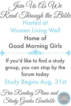 Join us as we read through the Bible cover to cover! Good Morning Girls groups are now open to join - come check out the details here today!