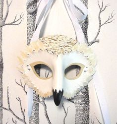 Snowy Owl Leather Mask Adult Size Made to by SundriesAndPlunder, $70.00