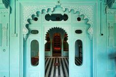 Bhim Vilas as seen in Mighty Maharajas: Forts & Palaces of India. Photo by Joginder Singh. Posted with permission from Vendome. via Style Court Aqua Door, Mysore Palace, Top Reads, Empire Romain, Rectangular Pool, Color Turquesa, Italian Garden, Fortification, India Travel