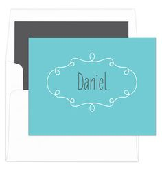 Teal Simply Foldover Note Cards