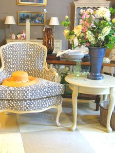 Vintage Bergere Chair, newly reupholstered, vintage table painted with Annie Sloan Chalk Paint®