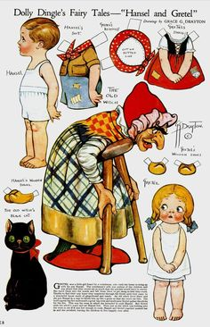 """Dolly Dingle's Fairy Tales-""""Hansel and Gretel"""" Paper Dolls"""