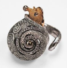 """18k Rose Gold & 925 Silver Snail Ring with Diamonds Handmade by """"ALEX SOLDIER"""" #HandmadeAlexSoldier #Cocktail"""