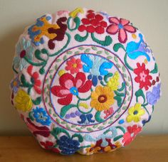 Colorful Floral Folk Pillow. Hand Embroidered. Kalocsa. Hungarian Inspired Folk…