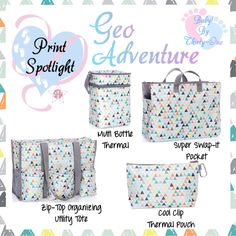 Geo Adventure Baby product spotlight by print.  Graphic for Facebook VIP group.  Thirty-One spring/summer 2018 www.mythirtyone.ca/sabrinawhite
