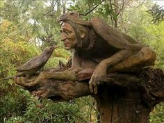 South American born artist Bruno Torfs lived in Europe,  before purchasing a  hectare of rainforest in Maryville, Australia.  In 13 years, he created a menagerie of carved log gnomes, terracotta mermaids, jungle boys, horses, wombats & life like street children.   In 2009, a bushfire destroyed  his weatherboard studio w/200 paintings, & over 135 sculptures.  He has since begun restoring the gardens, but faces large fiscal obstacles.  To help, visit his website at http://www.brunosart.com/.