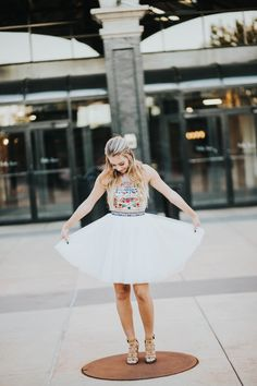 Utah Homecoming Homecoming Dress Short dress formal event Sweethearts Two piece Sherri Hill Embroidered White short dress Halter top tulle bottom