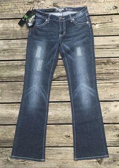 1dba5f6c9b2cf ROCK 47 By WRANGLER Ultra Low Rise Boot Cut Faded Denim Jeans Women s 3x32   Rock47ByWrangler