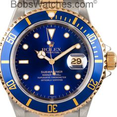 Rolex Submariner Two Tone with Blue Face 16613  http://www.bobswatches.com/pre-owned-mens-rolex-submariner-two-tone-with-blue-face-16613.html