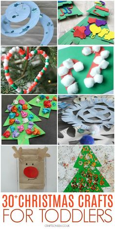 Simple Christmas crafts toddlers can make with candy cane crafts, Christmas tree crafts, Christmas ornaments, Christmas paper plate crafts and Handprint Christmas Tree, Holiday Crafts For Kids, Christmas Ornament Crafts, Christmas Paper, Snowflake Ornaments, Xmas Crafts, Kid Crafts, Toddler Crafts, Preschool Crafts