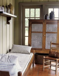 A late-1800s Texas porch bed and pie safe.