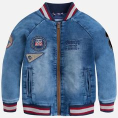 Zipup denim bomber jacket with a fade and patches