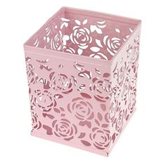 Clobeau Office Products Metal Flower Rose Design Square Pen Holder Case Pencil Cup Box Container Desk Organizer (Pink) ** Check out this great product.