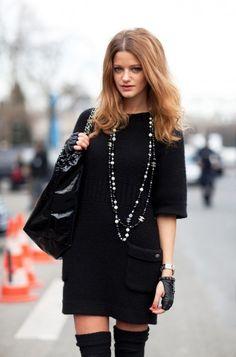 Long sweater dress with long socks or leg wormers. From stylesnooperdan.com