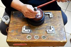 Repousse - jewelry making in action on the jeweler's bench