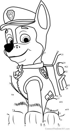 Paw Patrol Birthday Coloring Pages Awesome Chase Dot to Dot Printable Worksheet Connect the Dots Paw Patrol Coloring Pages, Pokemon Coloring Pages, Cartoon Coloring Pages, Coloring For Kids, Printable Coloring Pages, Coloring Pages For Kids, Coloring Books, Fairy Coloring, Printable Worksheets