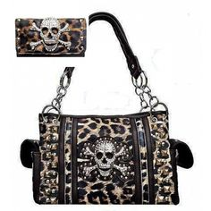 Handbags, Bling & More! Brown Leopard Print Skull Concealed Purse W Matching Wallet : Conceal and Carry Purse Sets