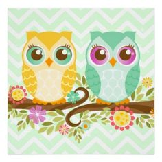 Cute Owls - Teal and Orange - Wall Poster