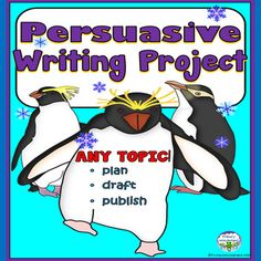 Persuasive writing graphic organizer with a winter penguin theme to help you teach 1st, 2nd, 3rd grade the process of writing using YOUR lessons on writing hooks, opinions, reasons, closing! This is a cute persuasive writing template that you can use for