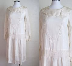 1920s Dress / WEDDING Ivory Flapper Dress / Smocking and Embroidery / S XS