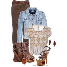* Denim Jacket with Brown Corduroy & Leather *