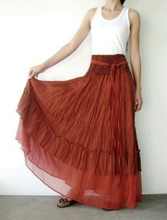 NO.36   Rust Cotton Tiered Peasant Skirt by JoozieCotton on Etsy, $45.00
