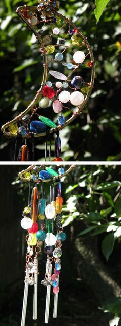 Beaded & wire-wrapped moon chimes