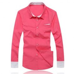 $12.16 Refreshing Bright Color Style Splicing Embellished Polyester Shirt For Men
