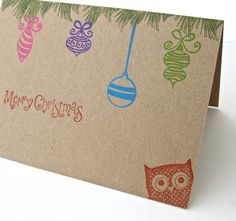 Peek - A - Whoo Owl Merry Christmas Cards - Folded with Envelopes - 8 Cards with Envelopes -  Kraft Brown with Retro Ornaments and Owl