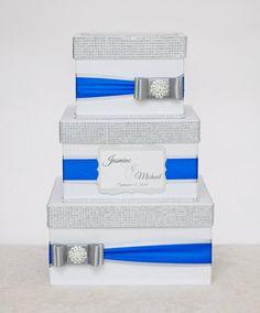 Wedding card box - silver and royal blue
