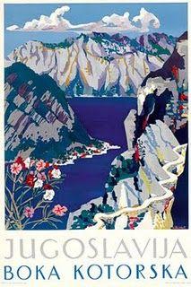 Travel poster Boka Kotorska (Bay of Kotor), Yugoslavia (now Montenegro)