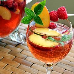 White #Summer #Sangria with #Basil, #Peach and #Raspberry