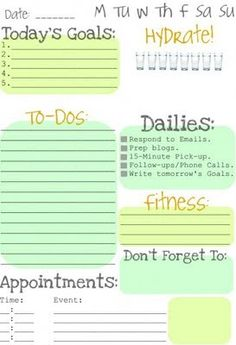 Love this daily to-do list! I like that it includes H2O.... need to add daily chores and daily fun to my own :-)
