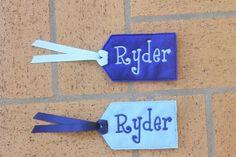 Custom Embroidered Name Tag! Visit www.facebook.com/PrincessWiggleBottom to view more!