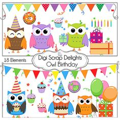 Buy 2 Get 1 Free Owl Birthday Digital by DigiScrapDelights on Etsy, $3.50